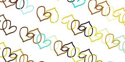 ljusblå, gul vektormall med doodle hjärtan