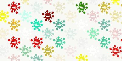 ljus flerfärgat vektor mönster med coronavirus element.