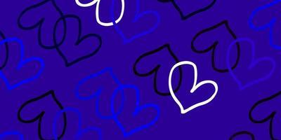 hellrosa, blaues Vektormuster mit bunten Herzen.