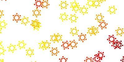 ljus orange vektor bakgrund med covid-19 symboler.