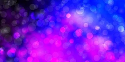 ljusrosa, blå vektor bakgrund med cirklar.