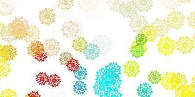 ljusblå, gul vektorlayout med vackra snöflingor.