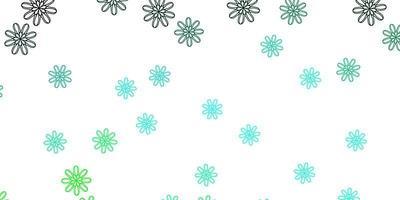 ljusgrön vektor doodle textur med blommor.