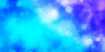 hellrosa, blauer Vektorhintergrund mit Kreisen.