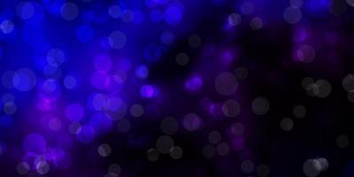 mörkrosa, blå vektormönster med cirklar. vektor