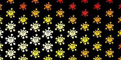 dunkeloranger Vektorhintergrund mit Virensymbolen vektor