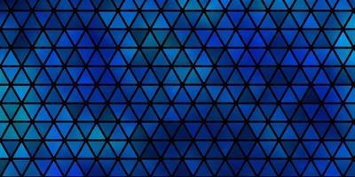 dunkelblaue Vektorschablone mit Kristallen, Dreiecken.