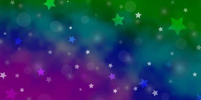 heller mehrfarbiger Vektorhintergrund mit Kreisen, Sternen.