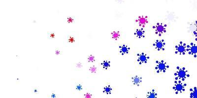 ljusblått, rött vektormönster med coronaviruselement.