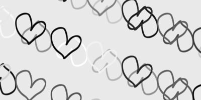 ljusgrå vektor bakgrund med glänsande hjärtan.