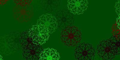 ljusgrön, röd vektor naturlig layout med blommor.