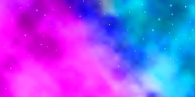 hellrosa, blaues Vektormuster mit abstrakten Sternen.