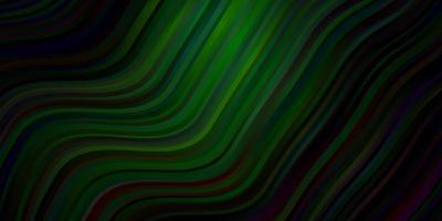 mörkblå, grönt vektormönster med böjda linjer.