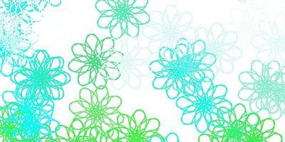 hellgrüne Vektor Gekritzel Textur mit Blumen.