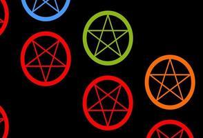 dunkler mehrfarbiger Vektorhintergrund mit okkulten Symbolen.