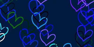 hellblauer, grüner Vektorhintergrund mit süßen Herzen.