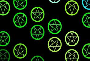 mörkblå, grön vektorstruktur med religionssymboler. vektor