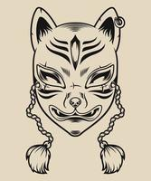 svartvit illustration av en japansk rävmask