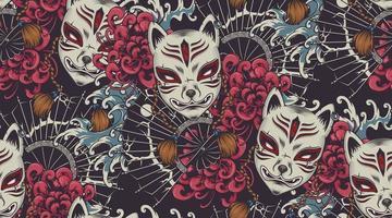 Nahtloses Muster des japanischen Themenvektors mit einer Kitsune-Maske. vektor