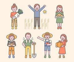 jordbrukare som skördar grödor och söta karaktärer vektor