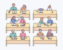 Klassenzimmer und Klassenkamerad vektor