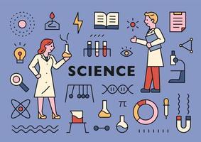 vetenskapsman och vetenskap ikoner samling