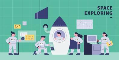 Ein Astronaut repariert ein Raumschiff im Labor. vektor