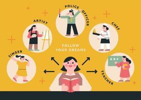 följ din drömdesign vektor