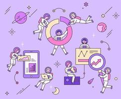 Raumfahrer und Technologiediagramm. vektor