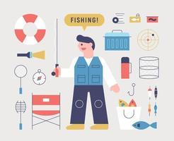 fiske man och fiskeutrustning