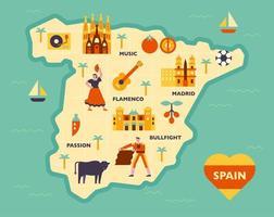 Zusammensetzung der kulturellen Ikonen auf der spanischen Karte. vektor