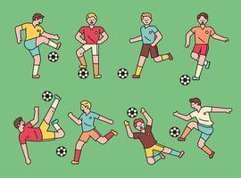 söt fotbollsspelare teckenuppsättning.