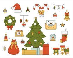 Weihnachtsbaum und umgebende Weihnachtsschmuck gesetzt. vektor