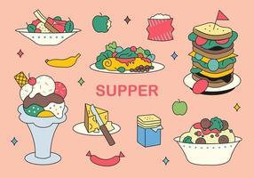 utsökt mat ikoner.