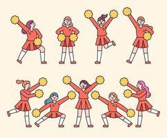 niedlicher Cheerleader-Mädchen-Zeichensatz. vektor