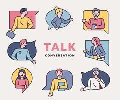 Konversation Menschen Symbole Sammlung.
