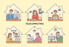 människor arbetar hemma via telekom.