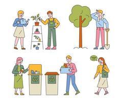 Ein Lebensstil, der die Umwelt schützt. vektor
