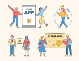 Smartphone Finanzen Leben und Charakter. vektor