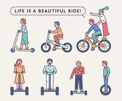 människor rider på olika transportmedel.