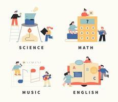 Student mit Fachsymbolen. vektor