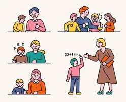 Der Lehrer und der Schüler lernen zusammen. vektor