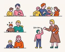 läraren och eleven studerar tillsammans. vektor