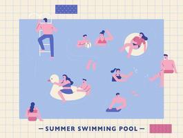Leute spielen im Schwimmbad.