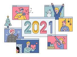 2021 Frohes neues Jahr Online-Begrüßung. vektor