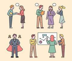 Geschäftsleute arbeiten als Team.