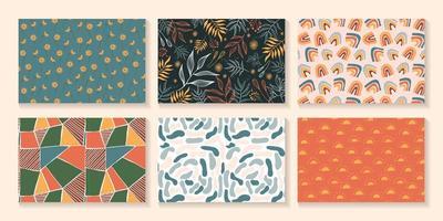 Satz von sechs modernen, abstrakten Musterhintergründen vektor