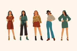 uppsättning av 5 hipsterflickor i fashionabla kläder