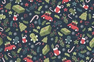 niedlicher weihnachtlicher nahtloser Musterhintergrund vektor