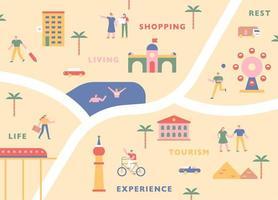 turism karta koncept. vektor